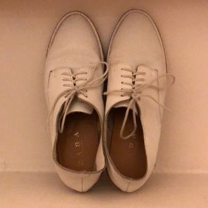 Zara White Leather Oxfords